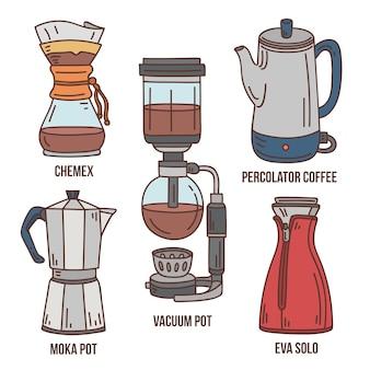 Handgezeichnete kaffeebrühmethoden eingestellt