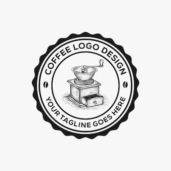 Handgezeichnete kaffeemühle logo design inspiration