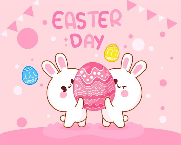 Handgezeichnete karikaturkunstillustration des kaninchens mit eiern des glücklichen ostertages