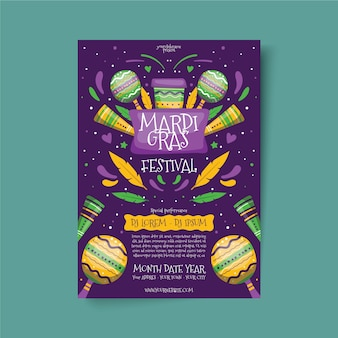 Handgezeichnete karneval flyer vorlage