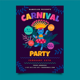 Handgezeichnete karneval party flyer vorlage