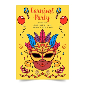 Handgezeichnete karneval party plakat vorlage