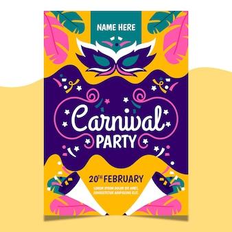 Handgezeichnete karneval party poster