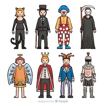 Handgezeichnete karnevalskostümsammlung