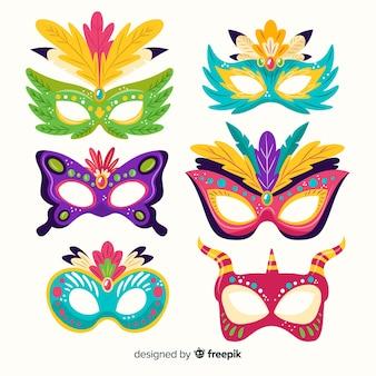 Handgezeichnete karnevalsmaske sammlung