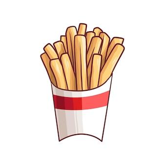 Handgezeichnete kartoffeln pommes frites