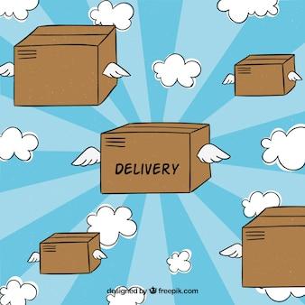 Handgezeichnete kartonboxen mit flügeln
