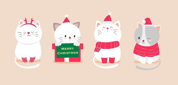 Handgezeichnete katzen für neues jahr und weihnachten premium-vektor