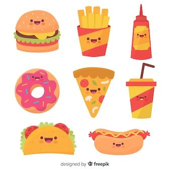 Handgezeichnete kawaii fast food-sammlung