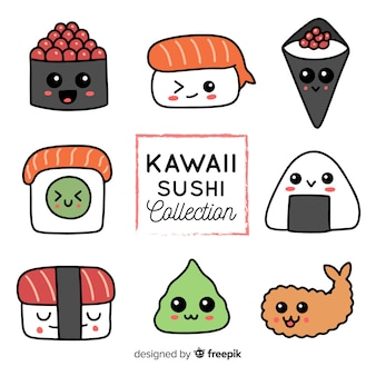 Handgezeichnete kawaii sushi-sammlung