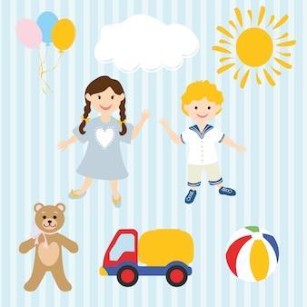 Handgezeichnete kinder und spielzeug