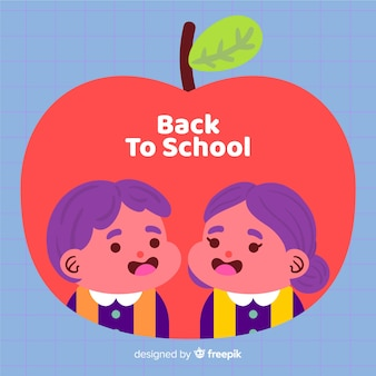 Handgezeichnete kinder zurück in die schule