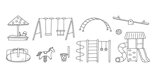 Handgezeichnete kinderspielplatzobjekte. schaukel, rutsche, wippe und sandkasten im doodle-stil. kinderzeichnung von spielplatzelementen