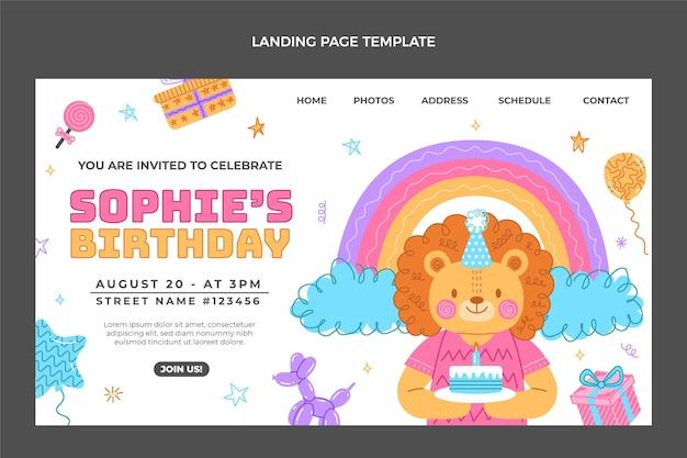 Handgezeichnete kindliche geburtstags-landing-page-vorlage