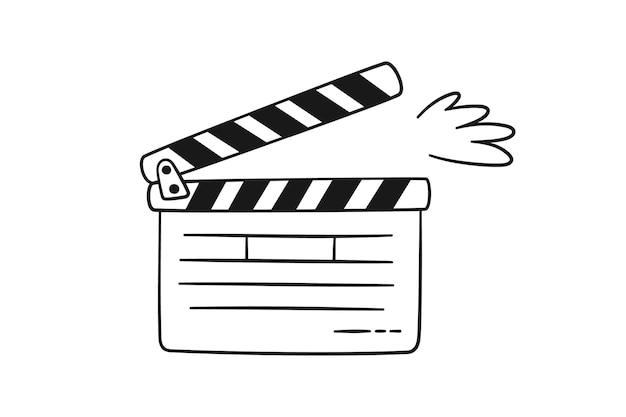 Handgezeichnete kino-klappe. filmklappe für die filmproduktion. vektorillustration lokalisiert in der gekritzelart auf weißem hintergrund. schwarz und während.