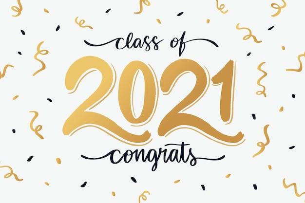 Handgezeichnete klasse von 2021 schriftzug