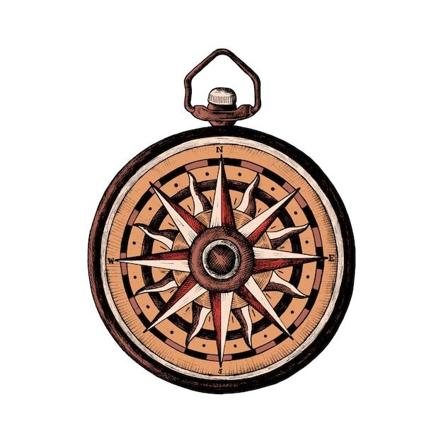 Handgezeichnete klassische kompass