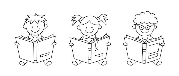 Handgezeichnete kleine kinder, die offene bücher halten und lesen. kindererziehung. jungen und mädchen lesen bücher.
