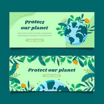 Handgezeichnete klimawandel-banner-vorlage