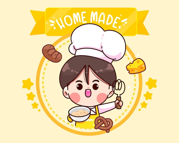Handgezeichnete koch- und bäckereilogo-cartoon-kunstillustration