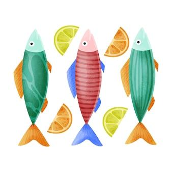Handgezeichnete köstliche sardinenillustration