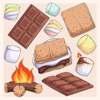 Handgezeichnete köstliche smore-kollektion marshmallows cracker schokoriegel und feuer