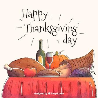 Handgezeichnete köstliche thanksgiving abendessen hintergrund