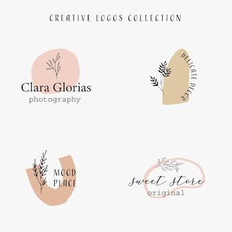 Handgezeichnete kollektion mit pastellfarbenen organischen formen und floralen linienelementen botanisches logo