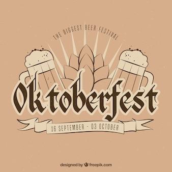 Handgezeichnete komposition für oktoberfest mit vintage-stil