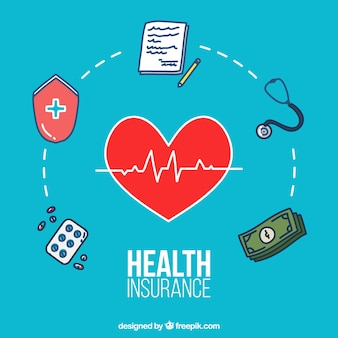 Handgezeichnete komposition mit gesundheitlichen elementen