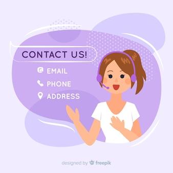 Handgezeichnete kontaktinformationen hintergrundvorlage