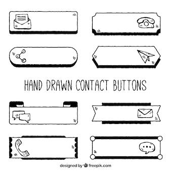 Handgezeichnete kontaktknöpfe packen