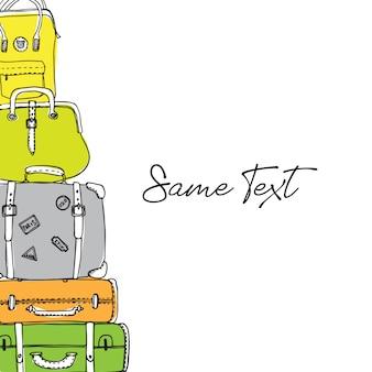 Handgezeichnete kontur reisetaschen