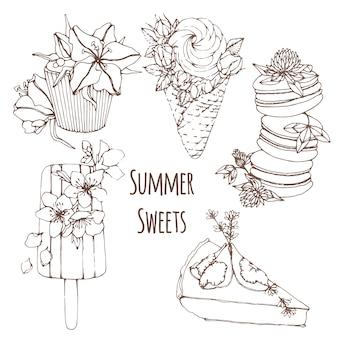 Handgezeichnete kontur sommer desserts mit blumen