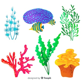 Handgezeichnete koralle mit fischsammlung