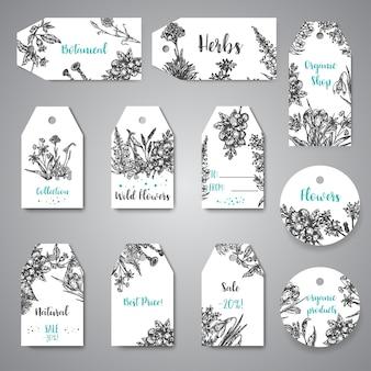 Handgezeichnete kräuter und wilde blumen tags und etiketten vintage sammlung von pflanzen