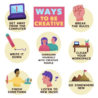 Handgezeichnete kreativitäts-infografiken