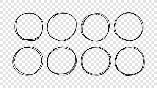 Handgezeichnete kreise skizzieren rahmenset. vektor runde gekritzellinie kreise.