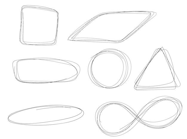 Handgezeichnete kreislinienskizze set vektor kreisförmige gekritzelkreise für nachrichtennotizzeichen