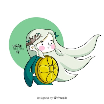 Handgezeichnete krieger jungfrau charakter