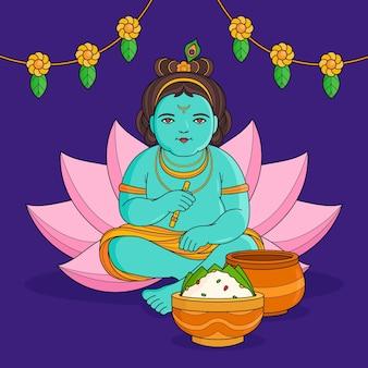 Handgezeichnete krishna janmashtami illustration