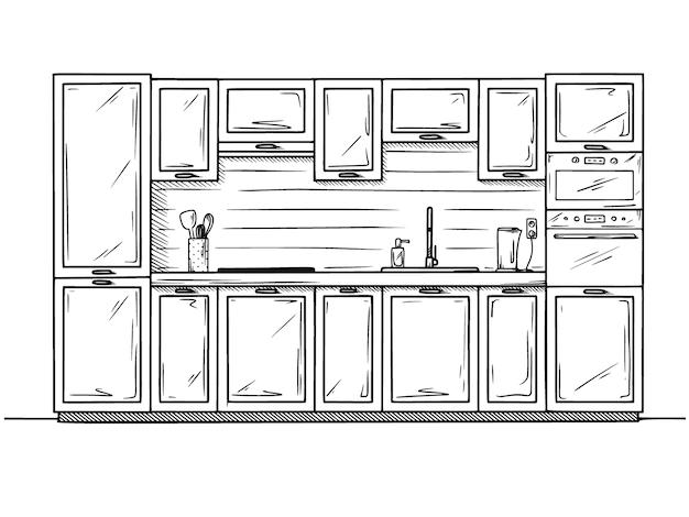 Handgezeichnete küchenmöbel. Premium Vektoren