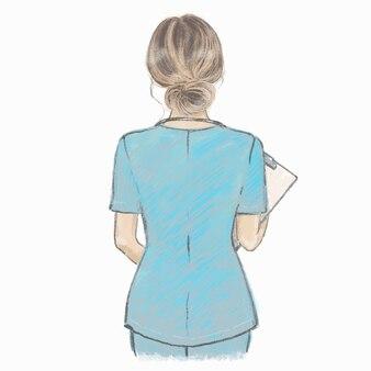 Handgezeichnete künstlerische illustration der krankenschwester. gesundheitspersonal.