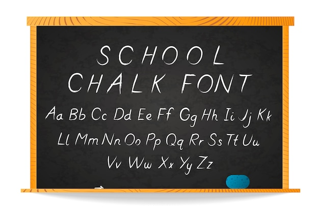 Handgezeichnete kursive schrift der schule weiße kreide auf tafel im holzrahmen auf weiß
