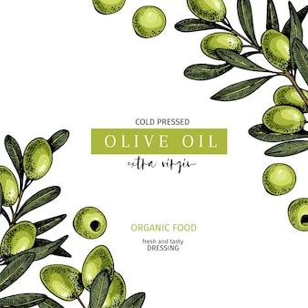 Handgezeichnete label von extra nativem olivenöl