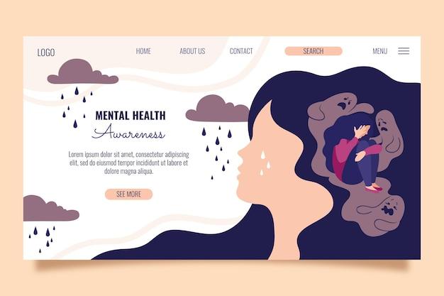 Handgezeichnete landingpage für psychische gesundheit