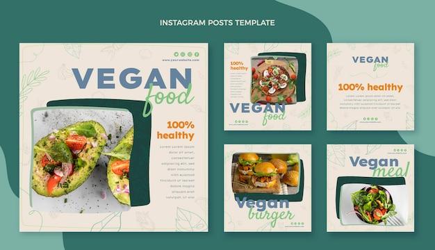 Handgezeichnete lebensmittel-instagram-posts