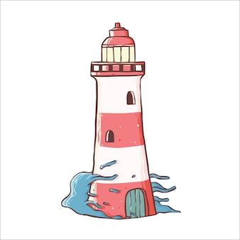 Handgezeichnete leuchtturm design