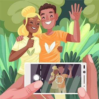 Handgezeichnete leute, die fotos mit smartphone machen