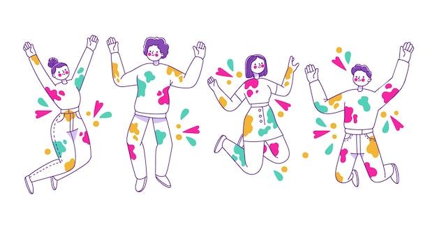 Handgezeichnete leute, die holi festivalillustration feiern